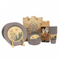 Bamboo - Dinner set - 4 people - Charcoal